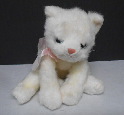 Large TY Stuffed Plush Fluffy White Kitty Cat with Pink Bow