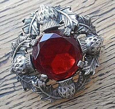 Vintage RED GLASS JEWEL & THISTLES Signed MIRACLE  Brooch Pin 1970s PEWTERY TONE