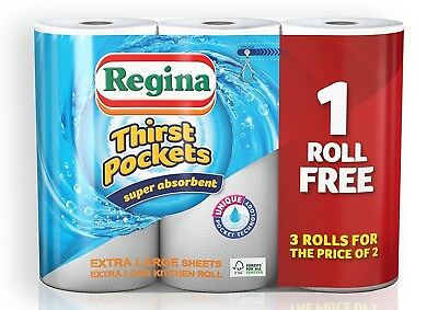 Regina Thirst Pockets Super Absorbent Kitchen Tissue Paper Towel 12 Rolls