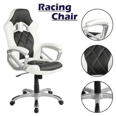 Office Chair Executive Swivel Racing Gaming PU Leather White & Black Uk