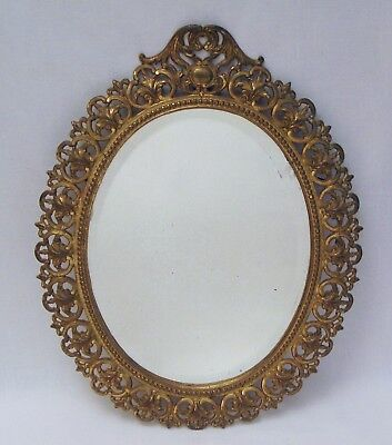 Antique Cast Iron Oval Mirror Frame Wall Ornate Gold Filigree Bevel Glass