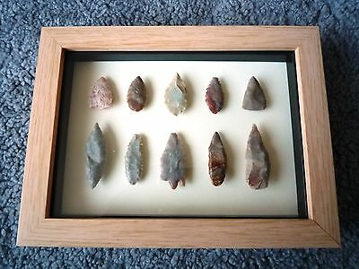 Neolithic Arrowheads in 3D Picture Frame, Authentic Artifacts 4000BC (0863)