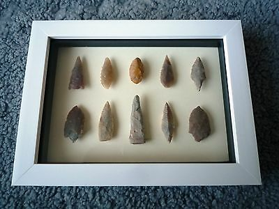 Neolithic Arrowheads in 3D Picture Frame, Authentic Artifacts 4000BC (0889)