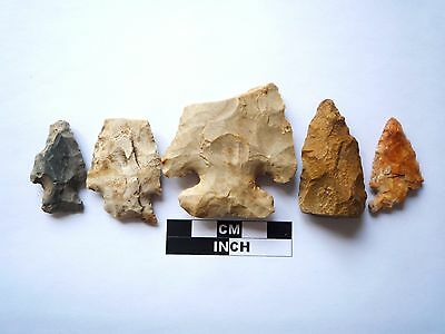 Native American Arrowheads x 5, Genuine Archaic Artifacts, 1000BC-8000BC (977)