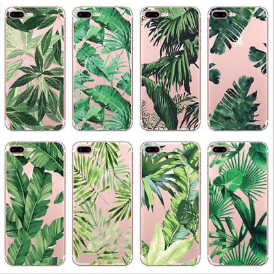 Clear Soft TPU Banana Leaf Flower Pattern Phone case for iphone 6 6s 7 8 plus X