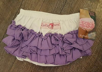 RuffleButts bloomer purple and white NWT