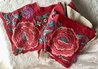 Antique Silk Piano Shawl Fragment Embroidered Colourful Flowers For Projects