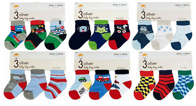 Socks baby BOY pack of 3 pairs 0-6 months