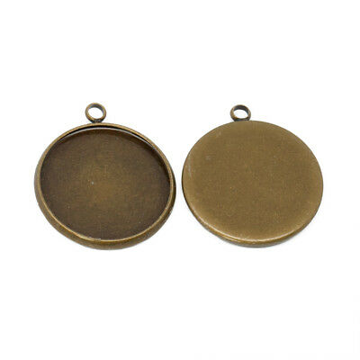 Antique Bronze Circular Round Pendant Fob Blank Settings Fits 20mm Cabochon