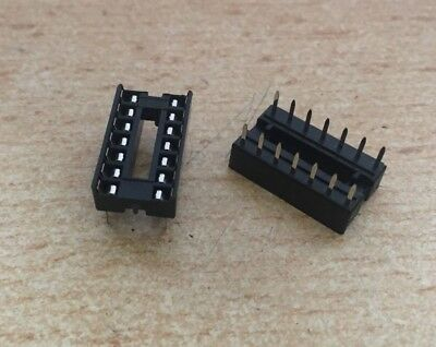 DIL 14 Pin IC Socket, Row Pitch 7.62mm, Terminal Pitch 2.54mm   2 pieces   HU304