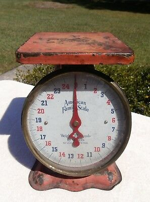 Vintage Red American Family 25 lbs Kitchen Scales