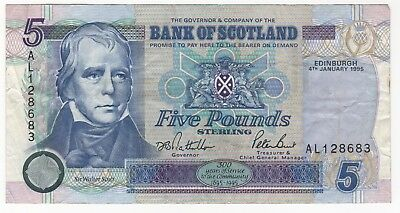 The Royal Bank Of Scotland Five Pounds Note ~ January 4, 1995