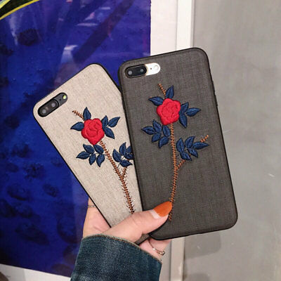 Vintage Embroidery Rose Floral Pattern Soft Phone Case for iPhone 7 6 6s Plus X
