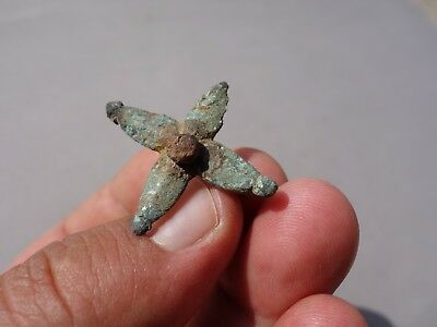 nice ancient Roman bronze brooch - fibula in a shape of flower