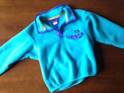 Retro Patagonia Kids Pull-Over Snap Fleece Teal