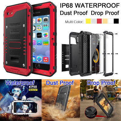 LUPHIE Waterproof Shockproof Aluminum Metal Case Cover for iPhone X 8 7 Plus 6S