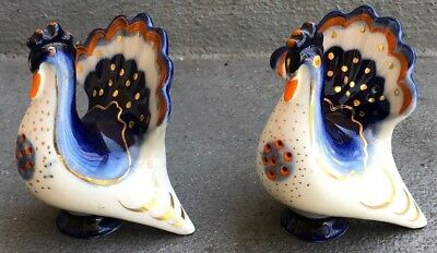 Pair Of Ussr Painted Salt Pepper Peacock Shakers