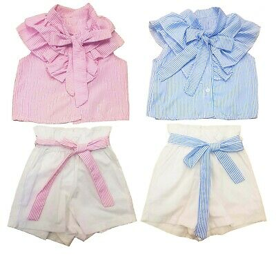 Girls Kids Pink & Blue Short Set Outfits Top 2 Piece Set Ages 4 to 14 Years