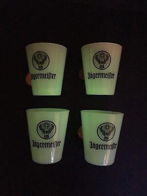 "Set of 4 Jagermeister ""Glow in the Dark"" Shot Glasses - Fun Mancave Bar Party"