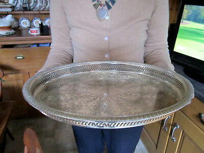 Old Antique Silver Plate Sheffield Style Large Size Wine Champagne Tray c1960