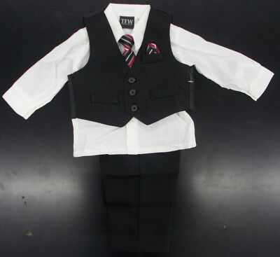 Infant Boys TFW $44 4pc Black & White Vest Suit Size 3/6 Months - 24 Months
