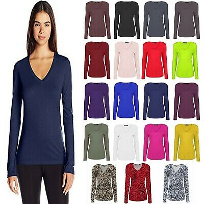 Womens Ladies Basic Long Sleeve Plain V Neck Stretch Top T Shirt Plus Size 8-26