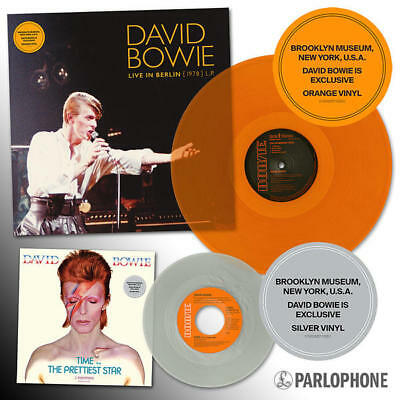 "David Bowie Live in Berlin '78 LP Orange and Time 7"" Silver Brooklyn Exclusive"