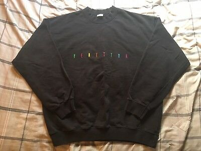 Vintage United Colors Of Benetton Spell Out Logo Sweatshirt Men's Size Large