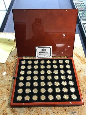 Complete 24K Gold Plated 50 State Quarter Set In A BEAUTIFUL Wood Display Box .