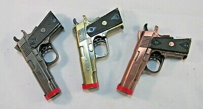 Novelty 9mm Gun Style Butane Jet Refillable Torch Lighter w Double Barrel Flame