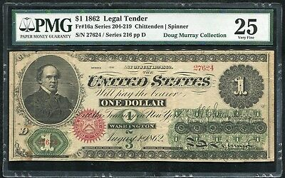 FR. 16a 1862 $1 ONE DOLLAR LEGAL TENDER UNITED STATES NOTE PMG VERY FINE-25