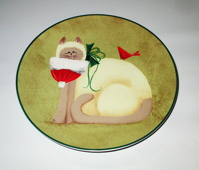 "Oneida Winter Cats Plate Christmas Santa Hat Green Red 8"" Fiddlestix Penny Lane"
