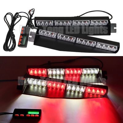 "34"" LED Warning Emergency Visor Strobe Split Deck Dash Flash Light Bar Red White"