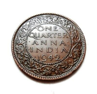 British India - George Vi - 1/4 Anna - Quarter Anna - 1942 -Calcutta Copper Coin
