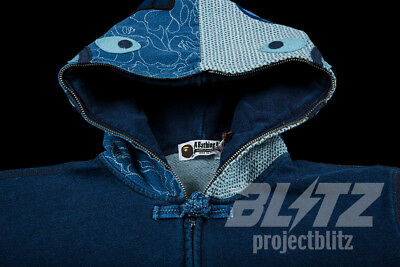6fa6b49e A Bathing Ape Indigo Shark Full Zip Hoodie M L Authentic Bape Denim Blue  Ss18