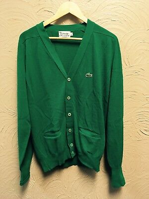 Vintage Lacoste Izod Mens Cardigan Sweater Kelly Green L Button