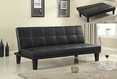 Black Bonded Leather Convertible Sofa Bed Sleeper Futon Couch Lounge Modern