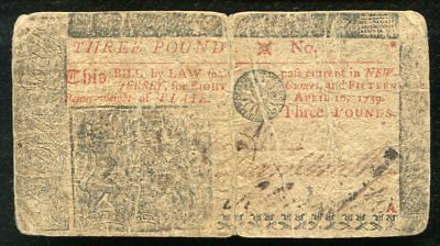 Nj 131 New Jersey April 10 1759 3 Three Pounds Colonial Currency Note