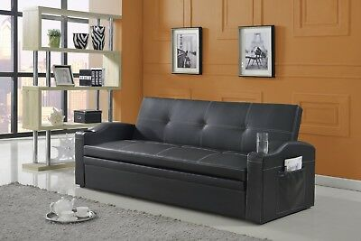 BLACK BONDED LEATHER Convertible Sofa Bed Sleeper Futon Couch Lounge ...