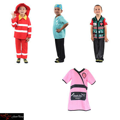 Kid's Dress Up Professions Firefighter Mechanic Nurse Barber Costume Outfit