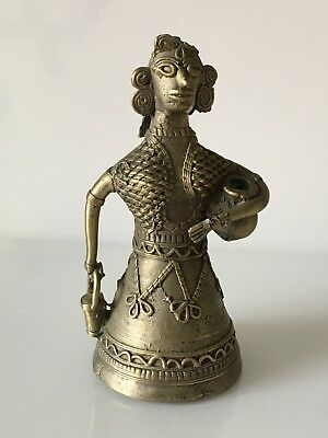Old Brass / Bronze Bell In The Form Of A Woman / Female