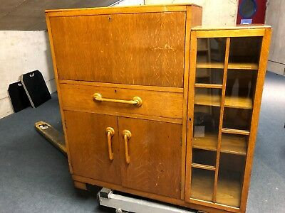 Mid-Century Writing Bureau/ Display Cabinet with Drawers and Cupboard