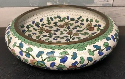 Vintage Antique Chinese Cloisonné On Copper Shallow Dish Bowl