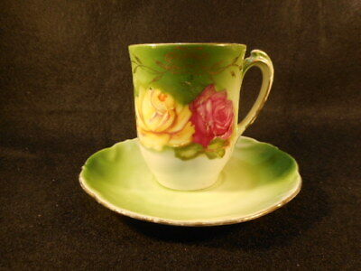 Vintage German Bavaria PM Green with Floral Design Tea Cup and Saucer