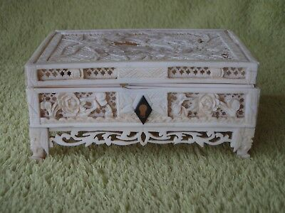 Very Fine Antique Carved Bovine Box - Incredible Carving / Extensive Damage A/F