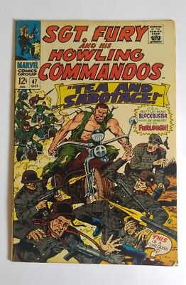 Sgt. Fury Howling Commandos  #47 1967 awesome classic Nazi motorcycle cover fn+?