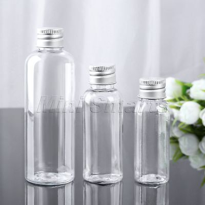 5Pcs Cosmetic Container Jars Perfume Bottle PET Travel Aluminum Cap 30/50/100ml