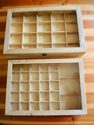 2 Wooden Jewelry Display Case Showcase Boxes