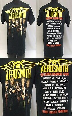 Aerosmith Global Warming Classic Rock Band Concert Tour Shirt Size Large