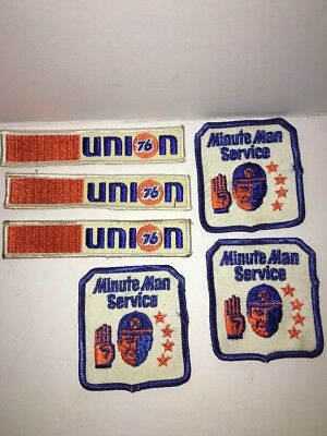 Lot Of 6 Vintage Union 76 Minute Man Service 4 Star Employee Patches